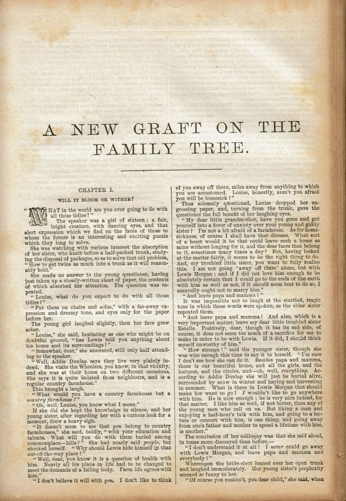 """Image of the first page of the story with title """"A New Graft on the Family Tree"""" at the top."""