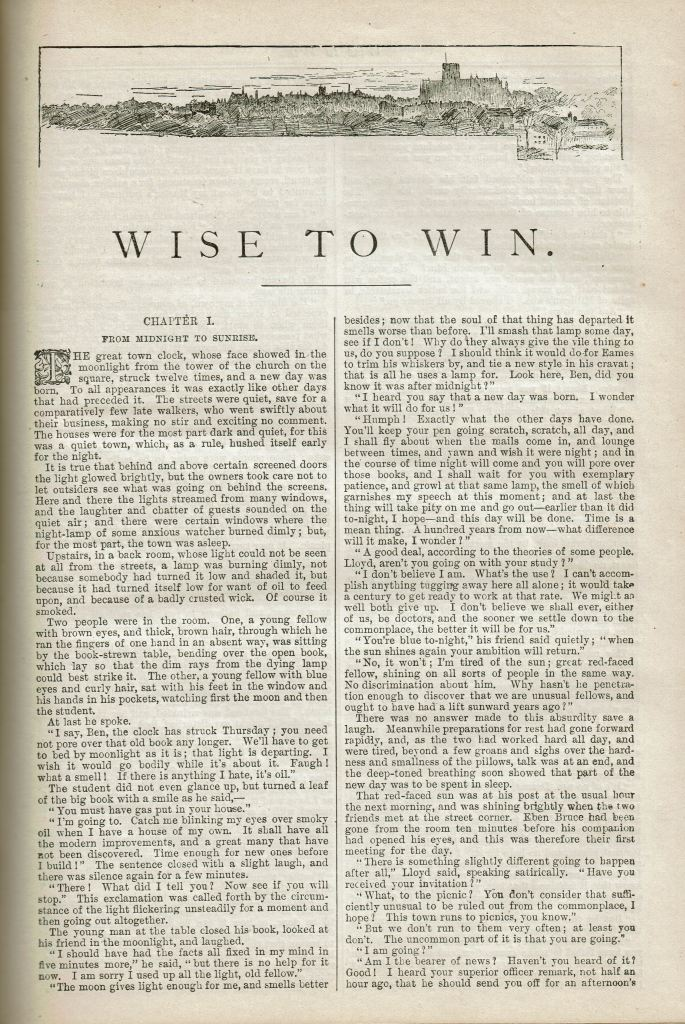 """Image of the first page of the story with the title """"Wise to Win"""" at the top."""